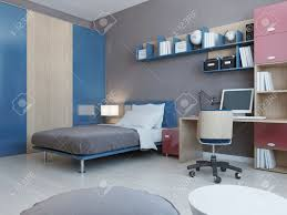 View Of Teenagers Bedroom In Red And Blue Colors Light Grey Stock