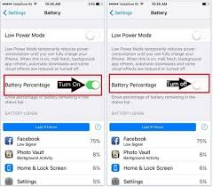 Enable Battery Percentage on iPhone iPad iOS 9 iOS 10 iOS 11