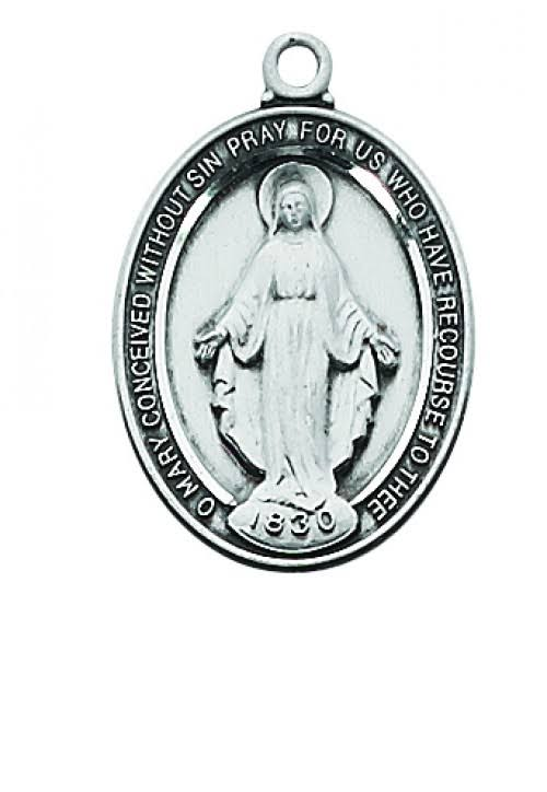 Sterling Silver Miraculous Medal on 18inch Chain