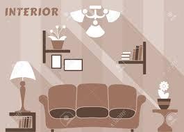wohnung moderne innenraum wohnzimmer in weiß beige und braune farben mit bücherregalen und bilder sofa nachttische mit le blumen kronleuchter