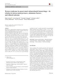 PDF Terson Syndrome In Subarachnoid