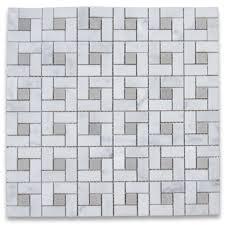 carrara white target pinwheel mosaic tile w gray dots honed