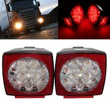 2Pcs LED Stop Light Tail License Plate Lights Truck Trailer Square ... Truck Lights Led Interior Exterior Trucklite 35 Series Marker Clearance Light Lite Headlight Ece 27491c 4 Inch Round Emergency Tail And Trailer W Reflector Brake Off Road 1224 Volts Black Chrome Finish Forti Usa 12v 16 Leds Stop Turn For Led Auto Car Caravan Side 2leds Choosing The Right 4wheelonlinecom 2pcs License Plate Square Upgrade Your Trucks With Maxxima Lights View Collection Westin Bars Trucks By