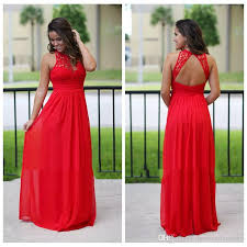 2017 Lace Top Long Chiffon Red Country Bridesmaid Dresses Formal Bridesmaids Dress Cheap Beach Sexy Backless Maxi Prom Gowns