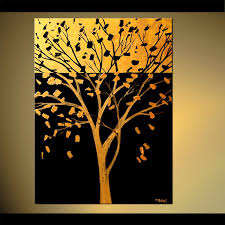 Painting Golden Tree Large Abstract Art Brown Yellow 5868