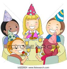 Drawing Birthday Party Fotosearch Search Clip Art Illustrations Wall Posters and