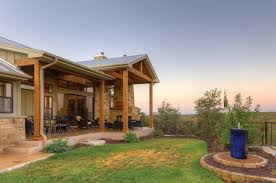 Texas Hill Country House Plans With Comfy Terrace Or Porch Plus Garden And Iron Fence