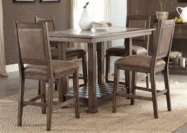 stone brook 5 piece gathering counter height table set in rustic