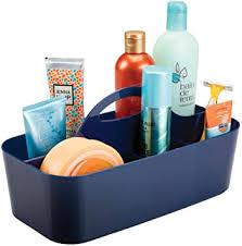 mdesign badezimmer korb 6 fächer organizer dusche und bad aufbewahrung farbe marineblau material kunststoff für duschgel shoo rasierer