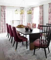 Pink Dining Room With And Gray Rug