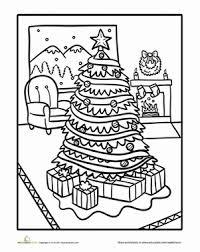 Kindergarten Holidays Seasons Worksheets Living Room Christmas Scene