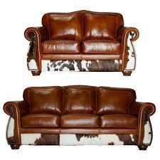 Leather Cowhide Rustic Sofa Set In Tan
