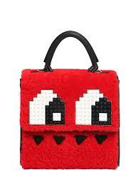 les petits joueurs mini alex eyes wool fur u0026 leather bag in red lyst