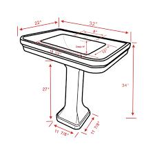 18 Inch Pedestal Sink by White China Victorian Pedestal Sink 8