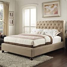 King Platform Bed With Fabric Headboard by Upholstered King Bed With Rolled And Tufted Headboard By Standard