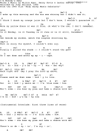 Song lyrics with guitar chords for I m Nobody s Baby Judy