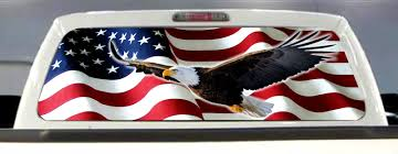 100 Pickup Truck Rear Window Graphics SupDec Decals Eagle With American Flag Truck