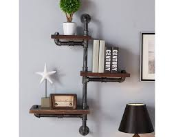 Shelf Industrial Wood Floating Wall Shelves For Books Unique Bookshelves Rustic Style Metal Black Finish Walnut Material Type Mini Mounted And White