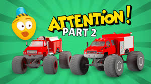 Fire Brigade's Monster Trucks - Cartoon For Kids About Monster Fire ...