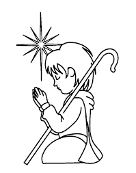 Open And Print This Christian Coloring Page Shepherd Girl Boy Pray