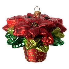 Poinsettia Christmas Tree Decoration Blown Glass S2