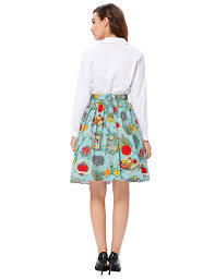 grace karin women pleated vintage skirts floral print cl6294