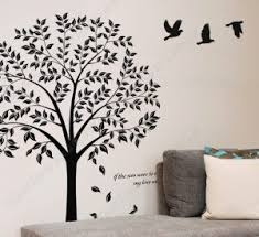 Wall Art Ideas Design Black Tree Beautiful Forest Contemporary Bedroom Birds Simple Fabric Pillow Square Leaves