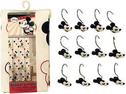 mickey maus badezimmer set stoff vorhang für die dusche und haken set beinhaltet 1 mickey mouse duschvorhang und 12 haken