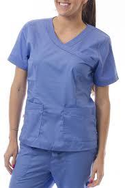 Ceil Blue Scrubs Sets by Sherly Uniforms Womens Medical Scrub Set V Neck Top And 4 Pocket