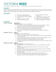 Resume Samples For Hospitality Jobs Also Server Sample To Create Inspiring Examples