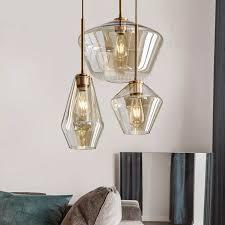 1pcs glas esszimmer beleuchtung anhänger le klar cognac glas nordic hängen le bar cafe wohnzimmer leuchten gf15