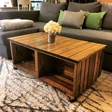 our diy wood crate coffee table how we did it we used 4 wood