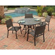 7 Piece Patio Dining Set Walmart by Home Styles Stone Harbor 51 In 5 Piece Slate Tile Top Round Patio