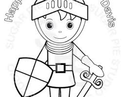 Personalized Printable Prince Sir Knight Birthday Party Favor Childrens Kids Coloring Page Activity PDF Or JPEG