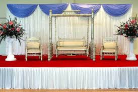 Simple And Elegant White Blue Stage
