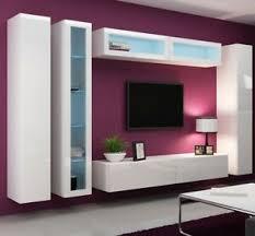 details zu lucas 6 hängwand tv wand schrankwand hängend hochglanz wohnzimmer led modern