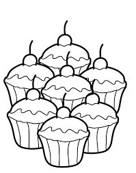 Coloring Page Cupcake Color Pages Simple With Swirling Icing On Top Birthday