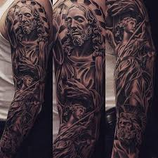 19 Best Jesus Sleeve Tattoos For Men Drawing Images On Pinterest