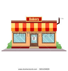 Vector illustration bakery shop front Street local restaurant building exterior European baker market facade