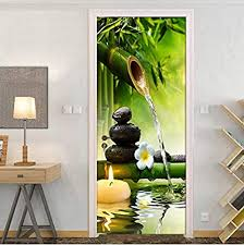 llwyh türaufkleber türtapete schlafzimmer wandmalerei pvc3d grün bambus landschaft foto wandaufkleber fototapete türfolie poster tapete 90x200cm