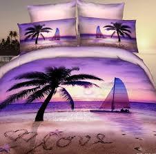 3D Purple beach palm tree bedding set for queen size romantic