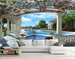 großhandel europäischer raum zu erweitern 3d stereo tv wandbilder hintergrundbild sofas im wohnzimmer und fernsehen hotelwand papier meerblick