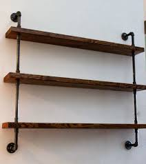 Wood And Metal Wall Shelves Traditional Room Interior Design With Rustic Wooden Brown
