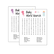 Baby Shower Word Search Printable Baby Shower Game Pink Baby Shower Purple Baby Shower Answer Sheet Included Instant Download PDF