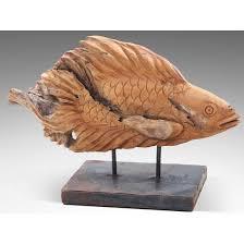 fisch holz skulptur aus teakholz 50cm figur holzfigur deko garten