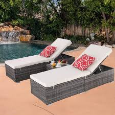 Do4U 3 Pcs Outdoor Chaise Lounge - Easy To Assemble - Thick & Comfy Cushion  Wicker Lounge Chairs Include 1 Table And 2 Chaise Lounge- Dark Grey Rattan  ... Chaise Lounge Chair Outdoor Wicker Rattan Couch Patio Fniture Wpillow Pool Ebay Yardeen 2 Pack Poolside Hubsch Contemporary Chairs Designer Lounges Wickercom Costway Brown Rakutencom Australia Elgant Hot Item With Ottoman Black Grey Modern Curved With Curve Arms Buy Chairrattan Chairoutdoor Awesome