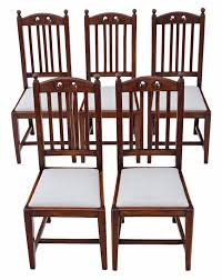 Set Of 5 Oak High Back Art Nouveau Dining Chairs C.1910 - 4454 ... Antique Vintage Art Nouveau Style Set Of 4 Carved Oak Ding Chairs Of Six French Louis Majorelle Caned Mahogany Unusual Victorian Walnut Wrought Iron Floral Lovely Important By Ernesto Basile For Ducrot 6 517550 Ding Chairs Art Nouveau Chair Set Sold Eight Period Tallback Stunning Inlaid High Back 2 Vinterior Fniture Antique Cupboards Tables