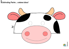 Purim Coloring Pages Cow Mask 0071 Web