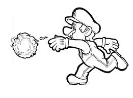Mario Awesome Weapon Fire Ball In Brothers Coloring Page