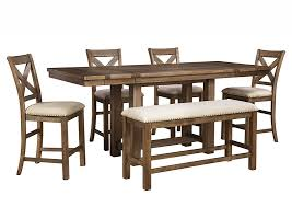 Ashley Moriville 36 Gray Rectangular Dining Room Counter Extension Table Set With Bench And 4 Upholstered Barstools